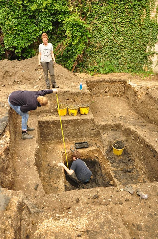 An excavation pit during the Cathedral archaeology dig