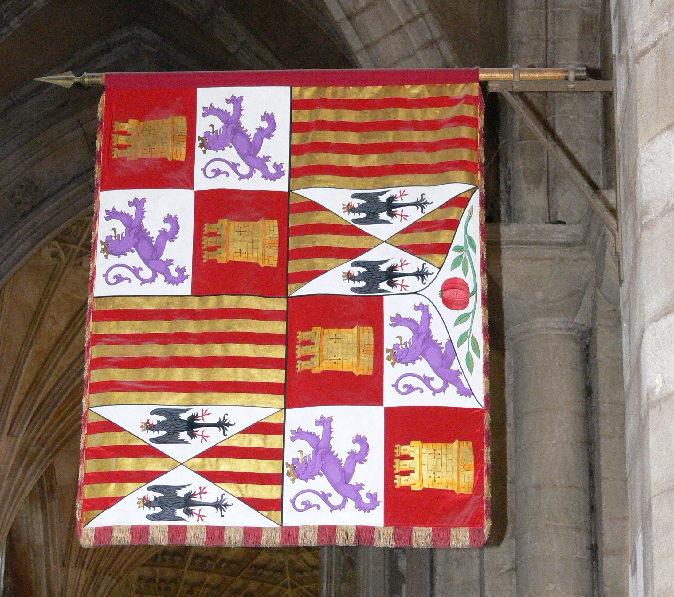 Katharine of Aragon's standard hanging in Peterborough Cathedral