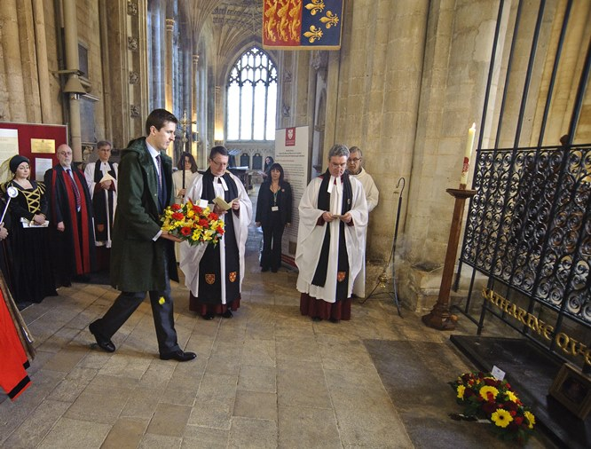 The wreath laying during the Katharine of Aragon commemoration service