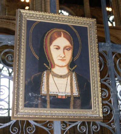 Katharine of Aragon's picture above her tomb in Peterborough Cathedral