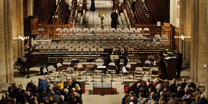 Staging for a concert in the Nave