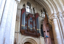 Peterborough Cathedral organ seen from the choir stalls