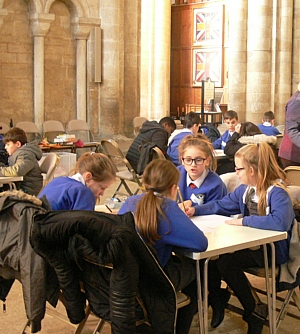Pupils working in the cathedral