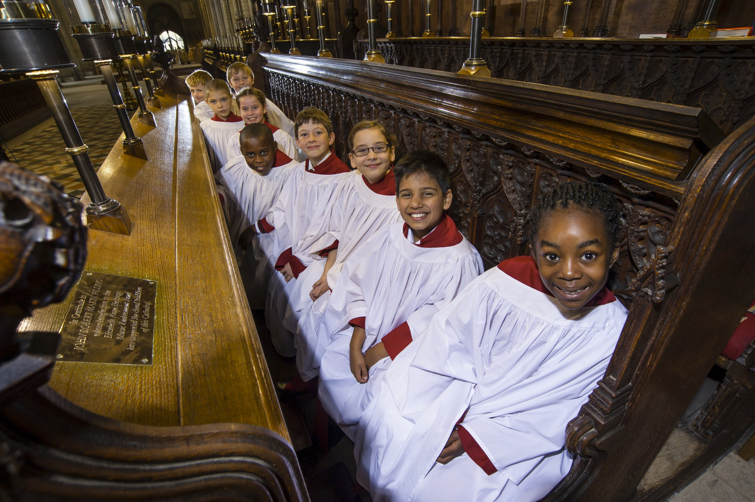 Choristers in the choir stalls