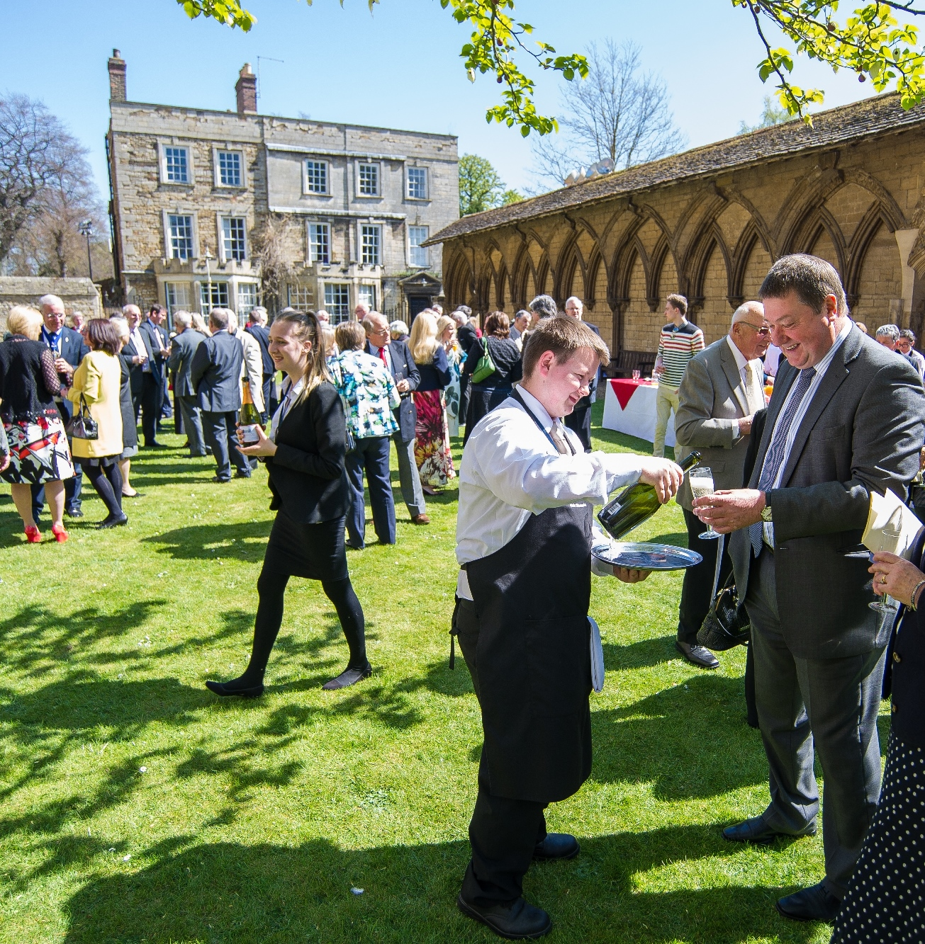 Guests at a reception at Peterborough Cathedral