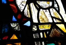 Examine the stained glass in detail