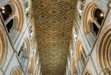 The 13th century painted wood ceiling of Peterborough Cathedral Nave