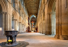 Peterborough Cathedral Nave, empty of chairs. Photo credit: Jarrolds Publishing