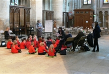 Schoolchildren in the South Transept of Peterborough Cathedral