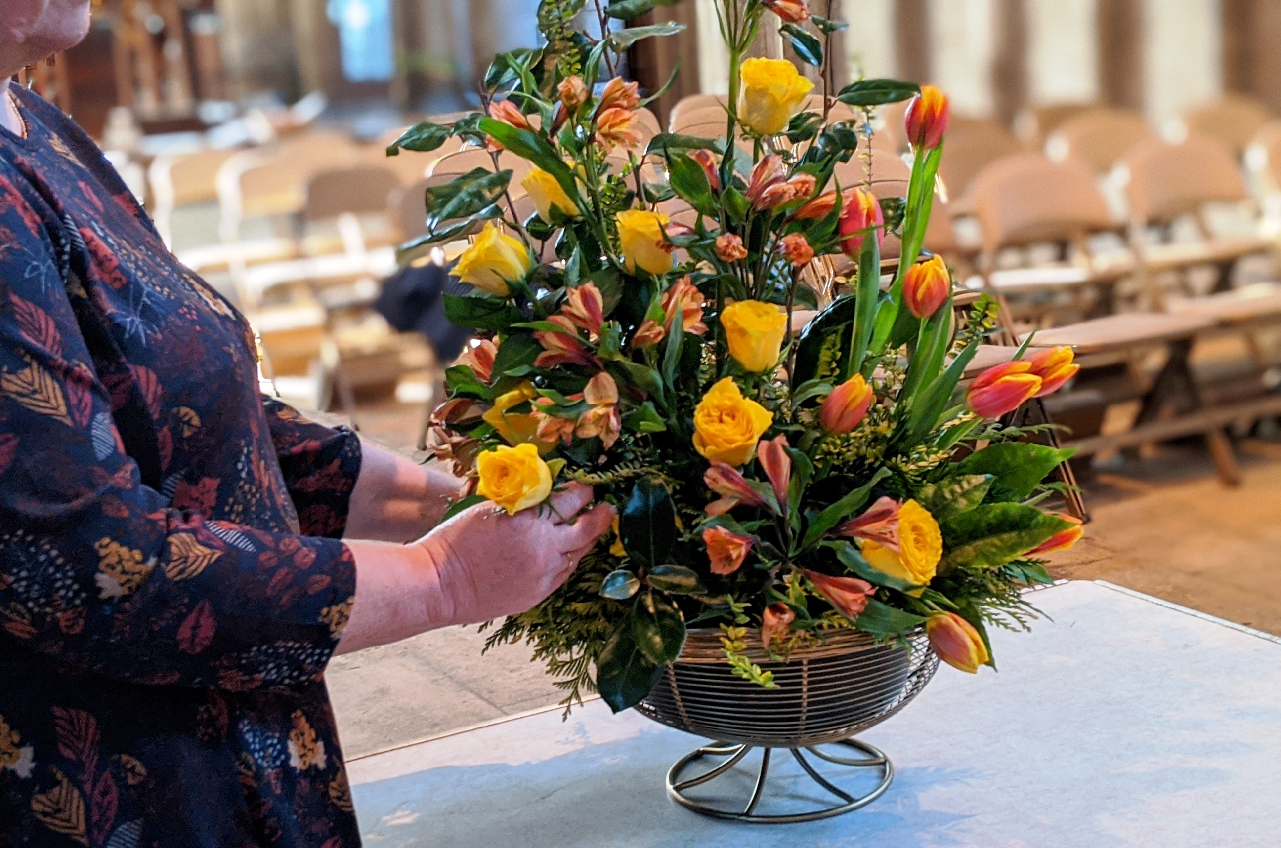 Flower arranging in the Cathedral