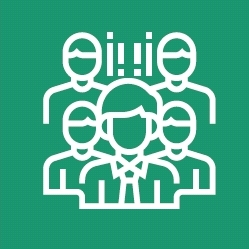 People outlines on green background