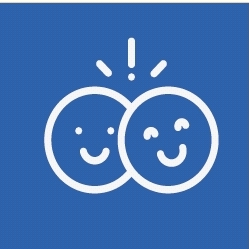 Smiley faces on a blue background