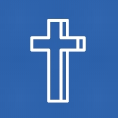 Cross on a blue background